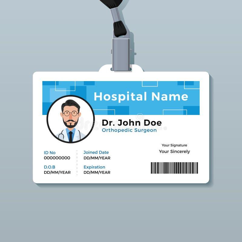 Het kenteken van artsenidentiteitskaart Medisch identiteitskaartmalplaatje royalty-vrije illustratie