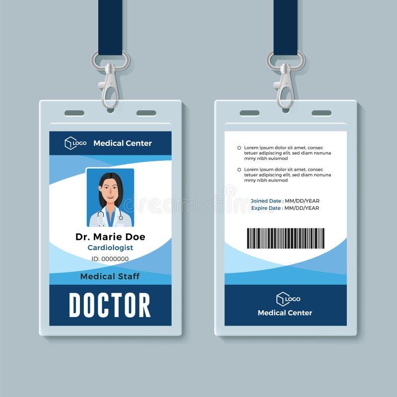 Het kenteken van artsenidentiteitskaart Medische identiteitskaartontwerpsjabloon vector illustratie