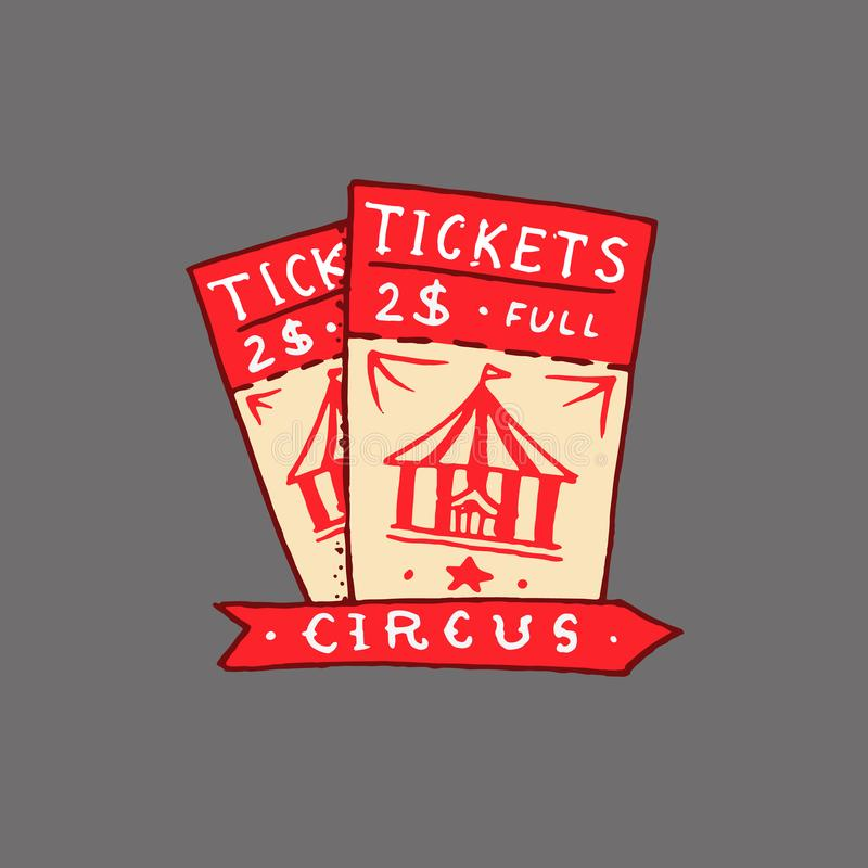 Het kenteken van het circuskaartje Retro kaart Uitstekend Carnaval-embleem of leuk embleem Het etiket voor de festivalbanner en t stock illustratie