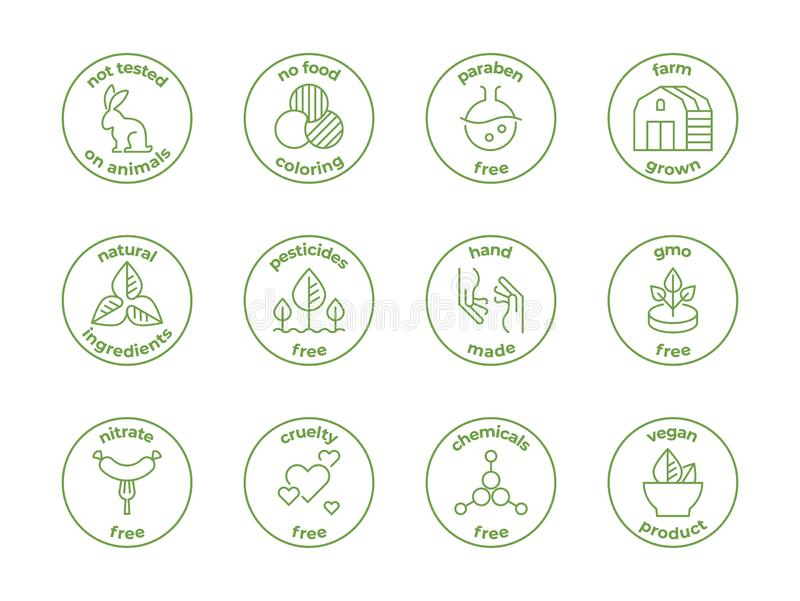 Het kenteken van de Ecolijn Natuurlijke organische emblemen, paraben vrij getest niet op dieren, wreedheids vrije etiketten, gezi royalty-vrije illustratie