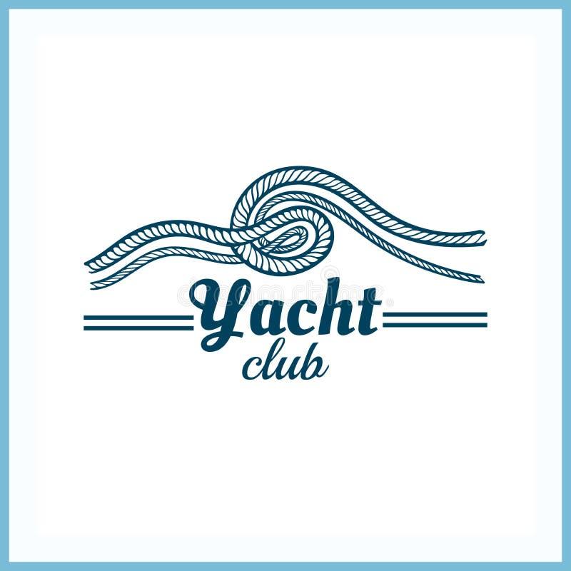 Het Kenteken van de jachtclub met Kabel royalty-vrije illustratie