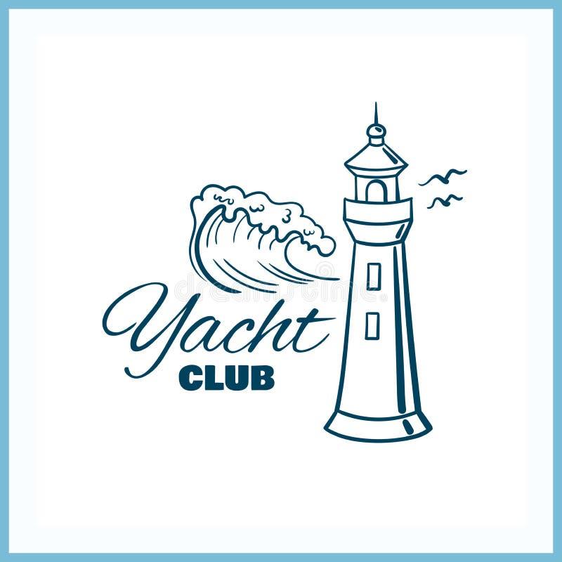 Het Kenteken van de jachtclub met Vuurtoren vector illustratie