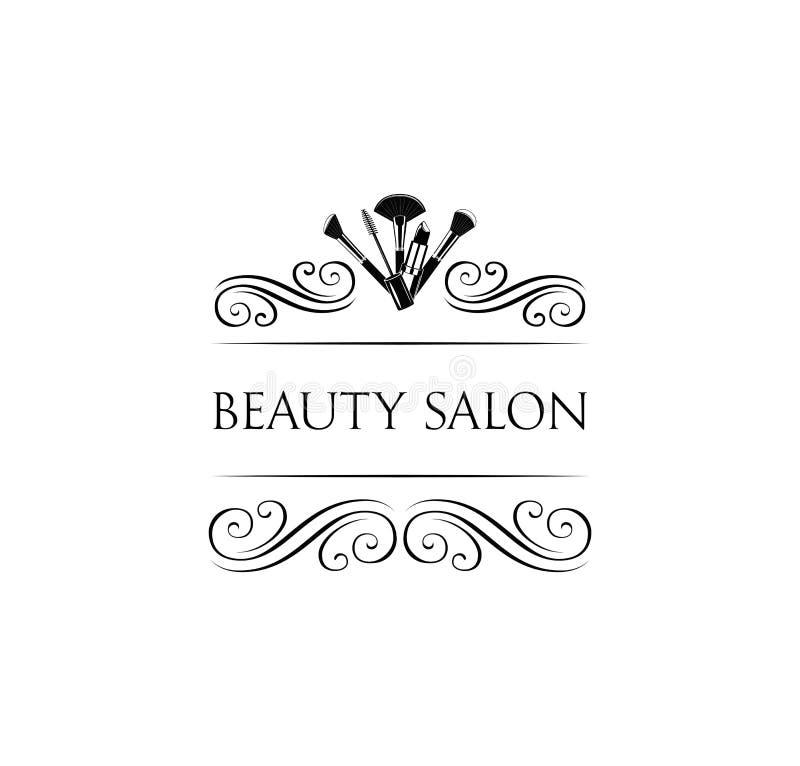 Het Kenteken van de schoonheidssalon Make-upborstels Maak omhoog de Vector van het Kunstenaarskenteken royalty-vrije illustratie