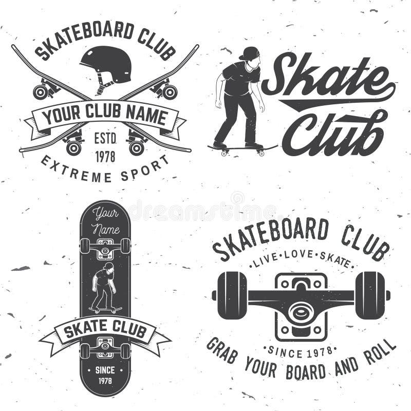 Het kenteken van de skateboardclub Vector illustratie royalty-vrije illustratie