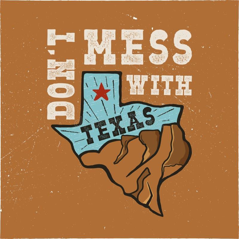 Het kenteken van de staat van Texas - knoei niet met het citaat van Texas Uitstekende hand getrokken creatieve typografieillustra vector illustratie
