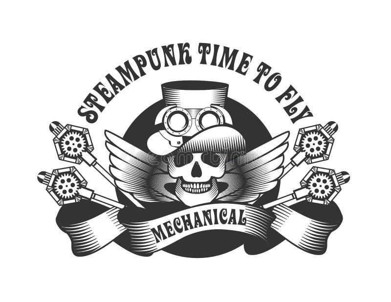 Het kenteken van de Steampunkschedel royalty-vrije illustratie