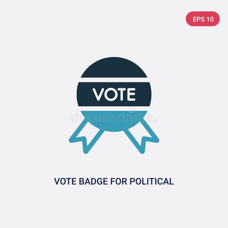 Het kenteken van de twee kleurenstem voor politiek verkiezingen vectorpictogram van politiek concept geïsoleerd blauw stemkenteke royalty-vrije illustratie