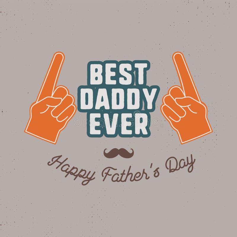 Het kenteken van de vadersdag Typografieteken - Beste Papa ooit Het etiket van de vaderdag voor kaarten, fotobekledingen Vakantie royalty-vrije stock afbeelding