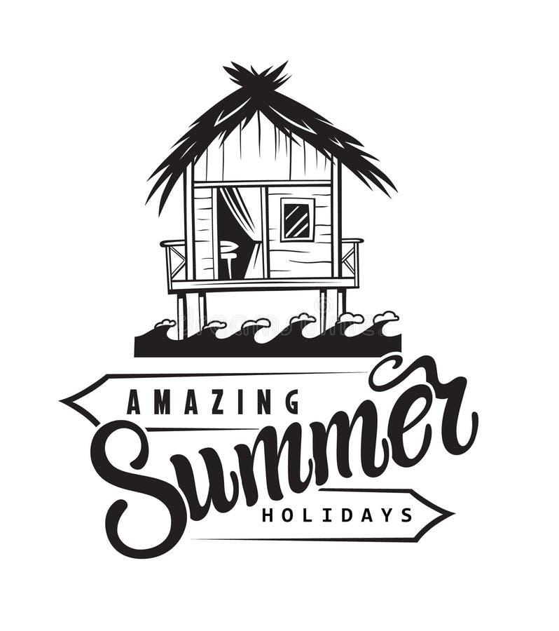 Het kenteken van de de zomervakantie stock illustratie