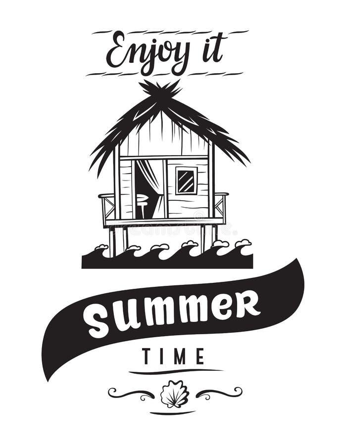 Het kenteken van de de zomervakantie vector illustratie