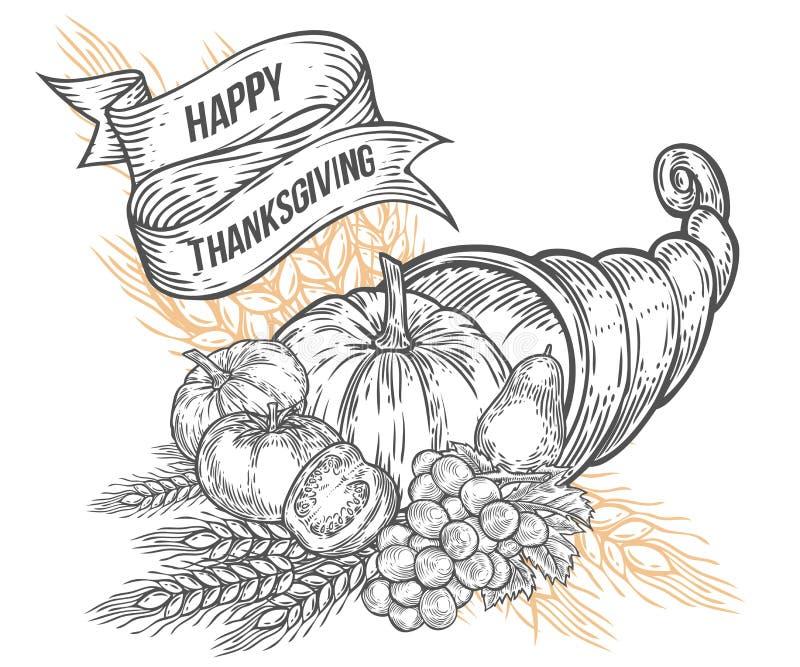 Het kenteken van het de hoorn des overvloedsfestival van de dankzeggingsherfst Zwart-wit uitstekende gravure stock afbeeldingen