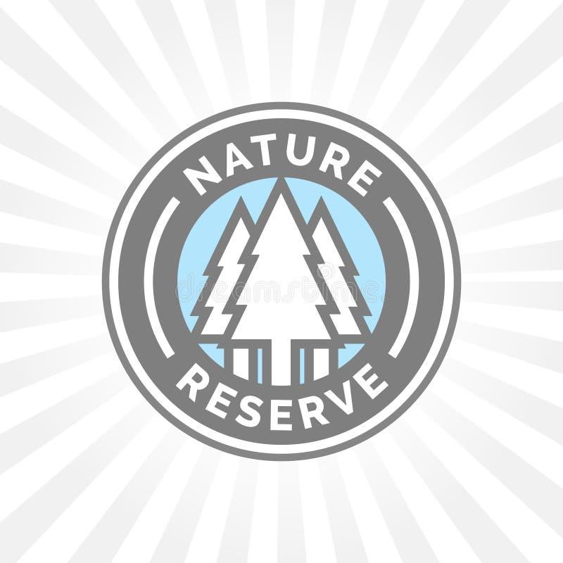 Het kenteken van het natuurreservaatpictogram Beschermd bosteken Bomensilhouet stock illustratie