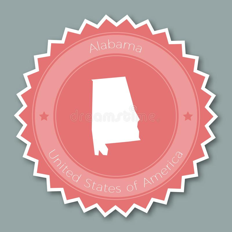 Het kenteken vlak ontwerp van Alabama stock illustratie