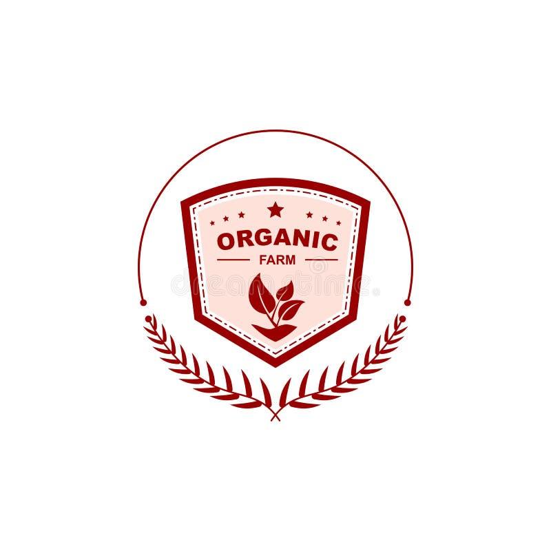 Het kentekenembleem van het aard organisch landbouwbedrijf stock illustratie