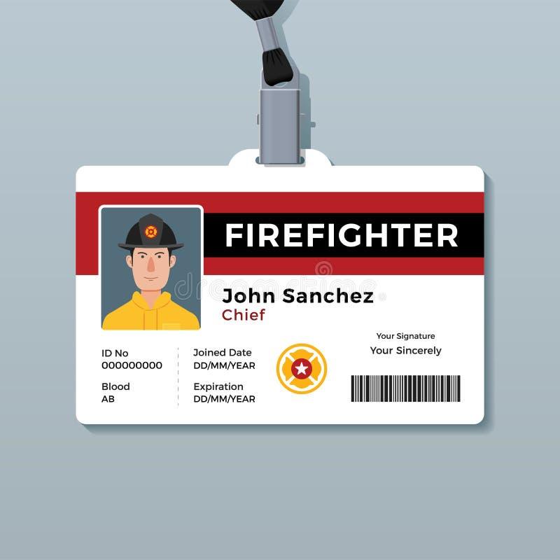 Het kentekenmalplaatje van brandbestrijdersidentiteitskaart stock illustratie