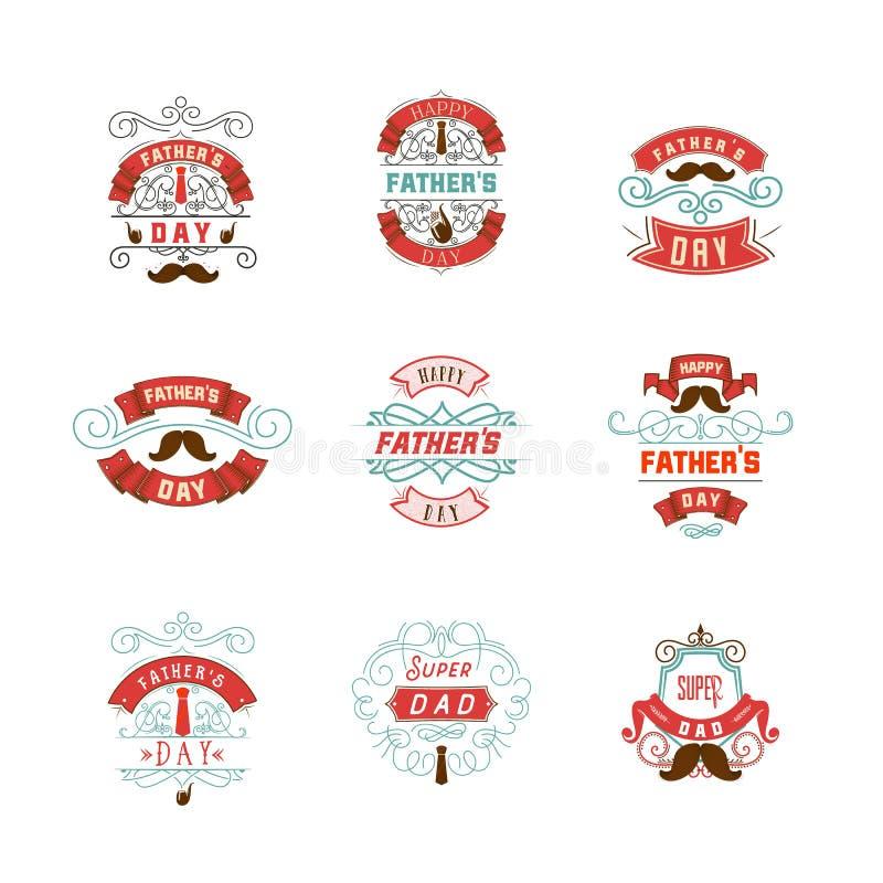Het kentekenontwerp van de vader` s Dag Sticker, zegel, met de hand gemaakt embleem - Met het gebruik van typografieelementen, ka royalty-vrije illustratie