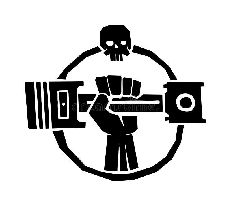 Het kentekenvector van het motorfietsetiket Zwarte pictogram en motoclubillustratie vector illustratie