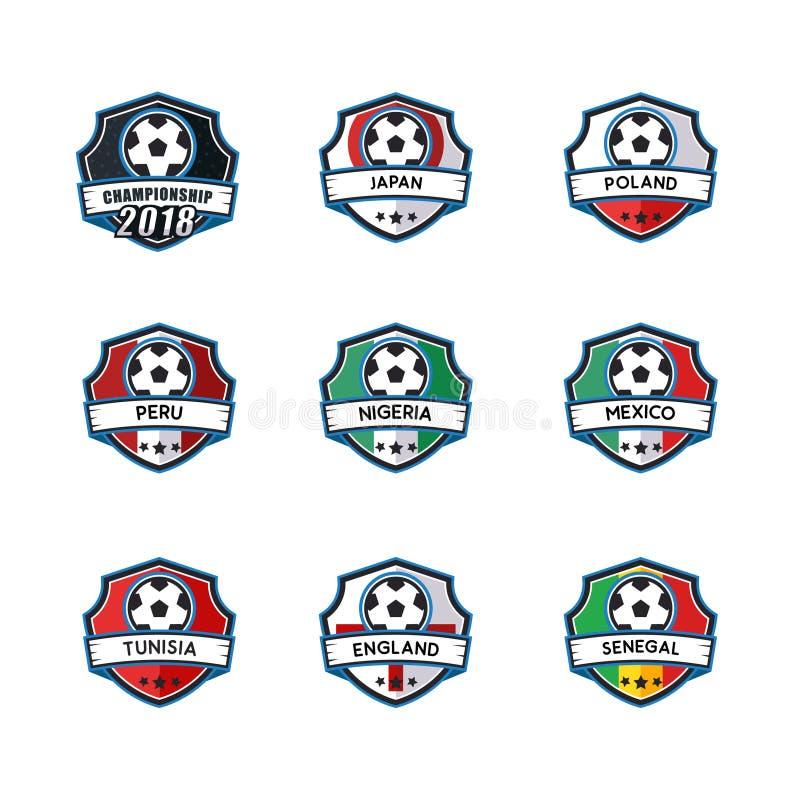 Het kentekenvector van het voetbalmalplaatje voor kampioen vector illustratie