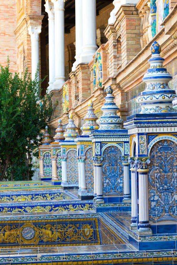 Het keramiekwerk bij het vierkant van Spanje stock afbeeldingen