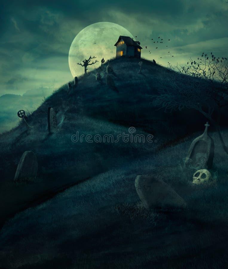 Het Kerkhof van Halloween royalty-vrije illustratie