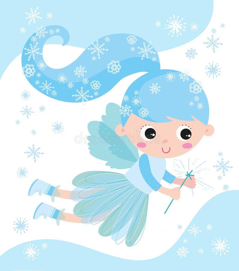 Het is Kerstmis! Lichtblauwe Fee vector illustratie