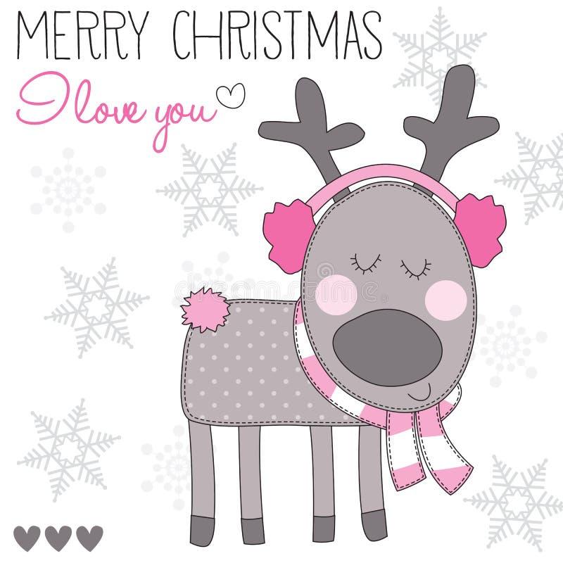 Het Kerstmisrendier met oor verknoeit vectorillustratie royalty-vrije illustratie