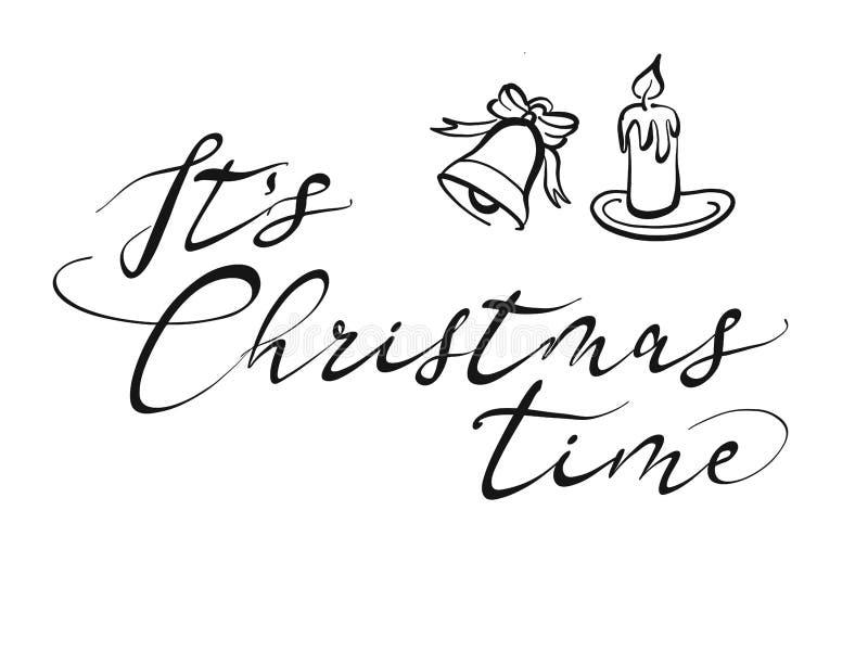 Het Kerstmistijd van ` s het van letters voorzien royalty-vrije illustratie