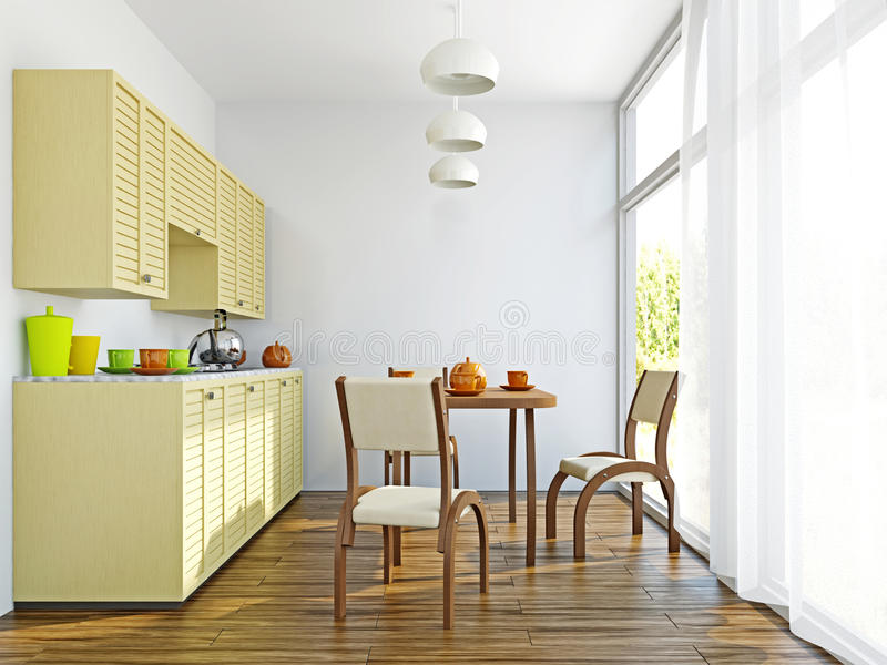 Het keukenbinnenland met meubilair royalty-vrije illustratie