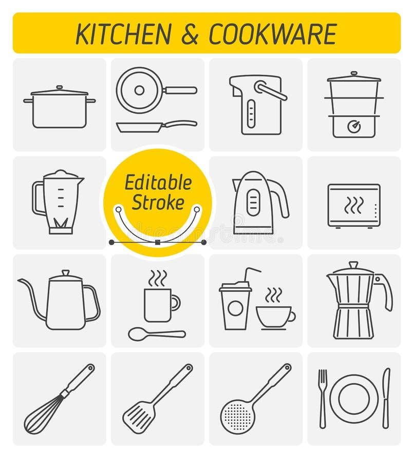 Het keukengerei en cookware schetst vectorpictogramreeks stock illustratie
