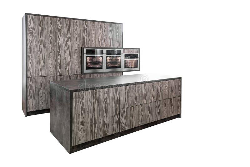 Het keukenmeubilair wordt gemaakt in modern ontwerp Geïsoleerdj op witte achtergrond stock afbeeldingen
