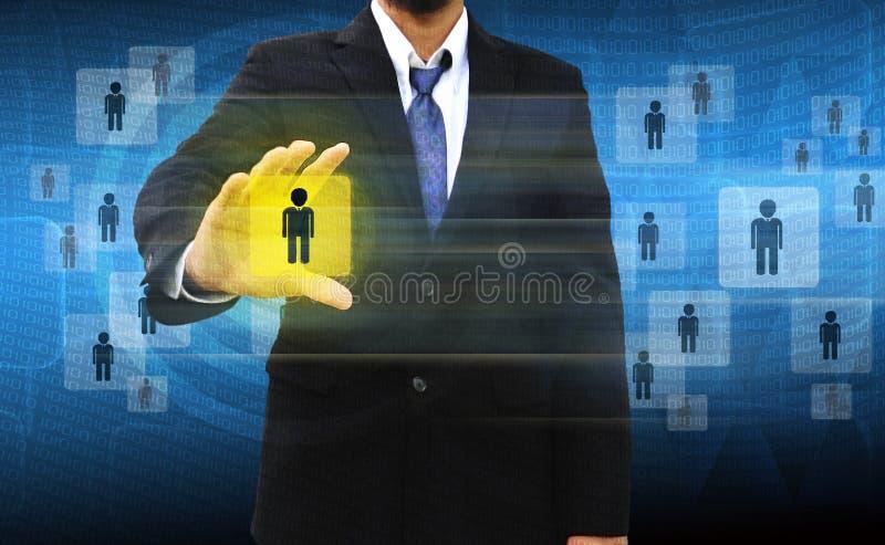 Het kiezen van de juiste persoon op bedrijfsmensengroep stock afbeeldingen