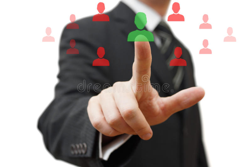 Het kiezen van de juiste persoon voor vennootschap stock foto's