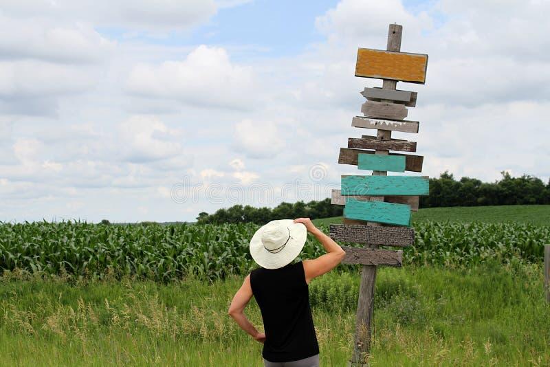 Het kiezen van een richting en het nemen van een besluit stock afbeeldingen