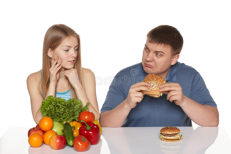 Het kiezen van gezond het eten concept. royalty-vrije stock foto