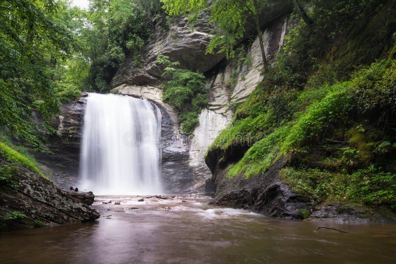 Het kijken Glas valt Watervallen Noord-Carolina stock foto