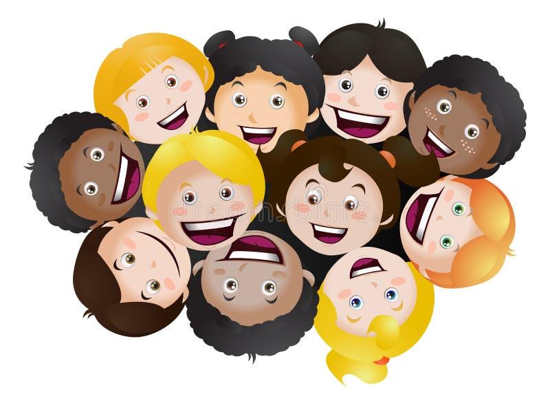 Het kijken omhoog gelukkige kinderen op geïsoleerd stock illustratie