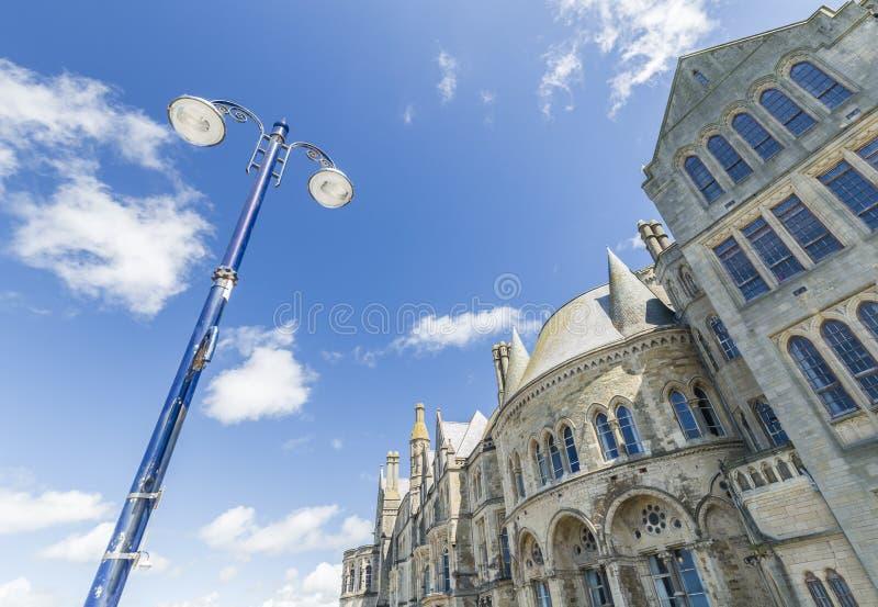 Het kijken omhoog op Aberystwyth Universitaire Voorgevels royalty-vrije stock afbeeldingen