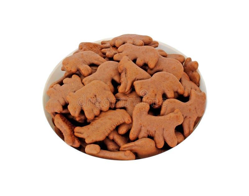 Het kijken onderaan de Dierlijke Koekjes van de Chocolade van de Kom stock fotografie