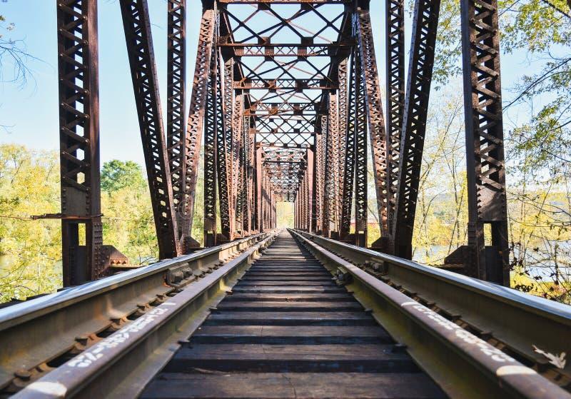 Het kijken onderaan thetracks op een treinbrug royalty-vrije stock fotografie