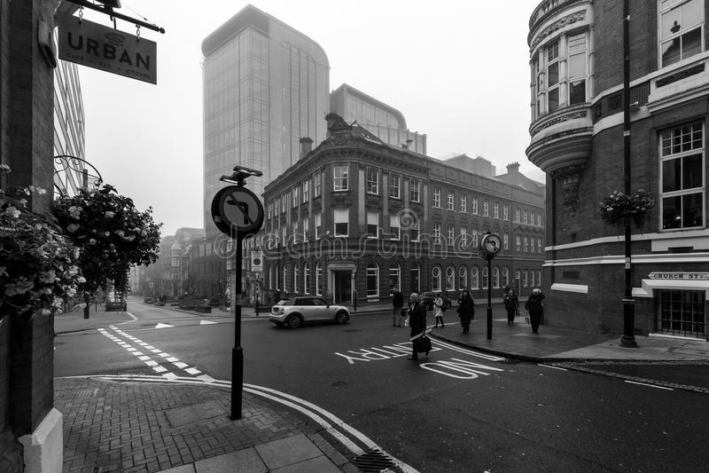 Het kijken op Kerkstraat en Edmund Street royalty-vrije stock afbeelding
