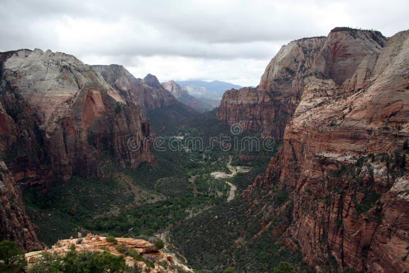 Het kijken over Zion Valley stock afbeelding