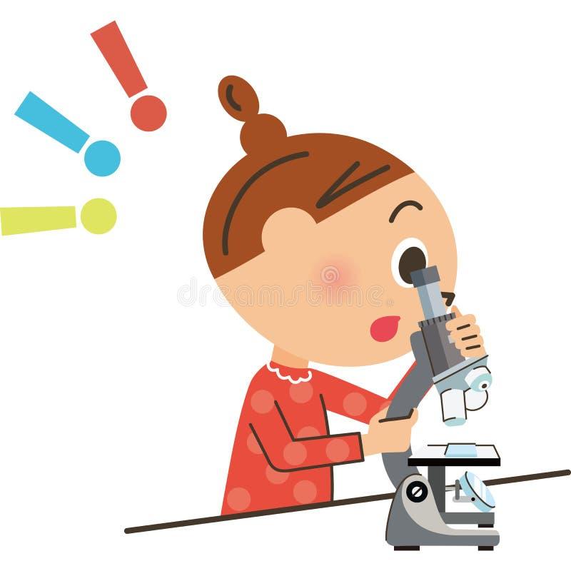 Het kind dat in een microscoop kijkt stock illustratie