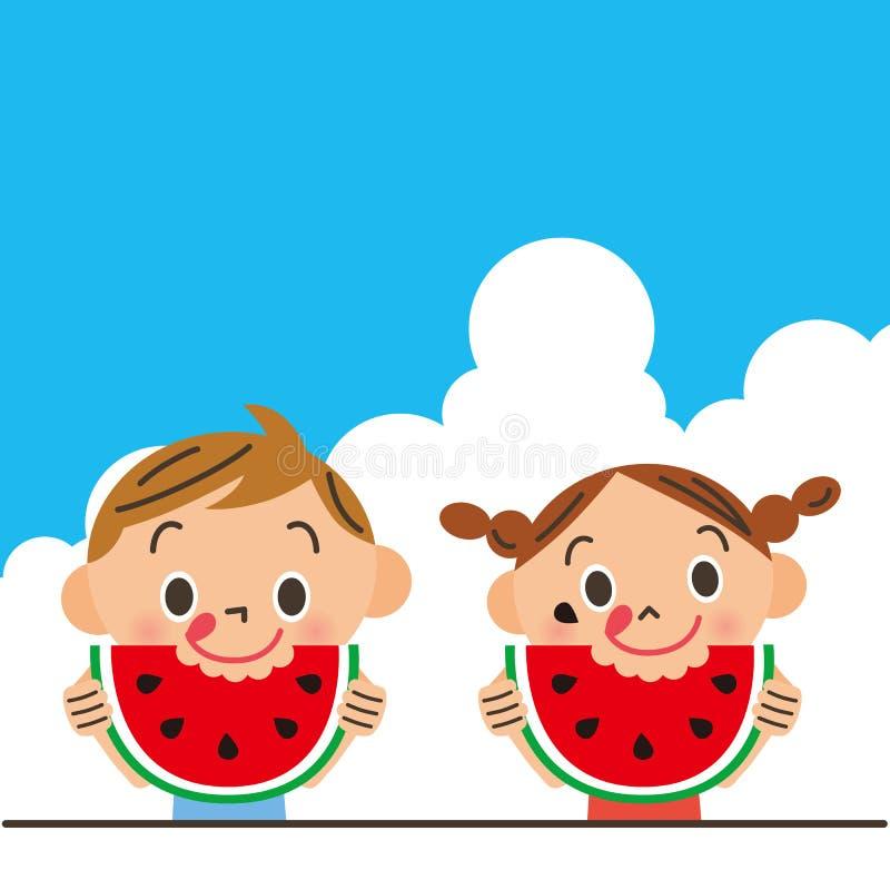 Het kind dat een watermeloen eet stock illustratie