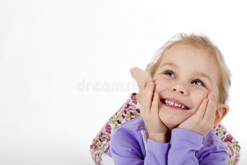 Het kind denkt royalty-vrije stock fotografie