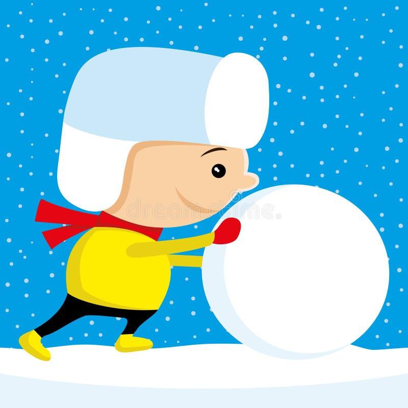 Het kind duwt een grote sneeuwbal stock illustratie