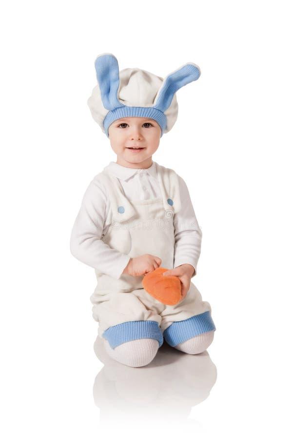 Het kind in een kostuum van een haas royalty-vrije stock fotografie