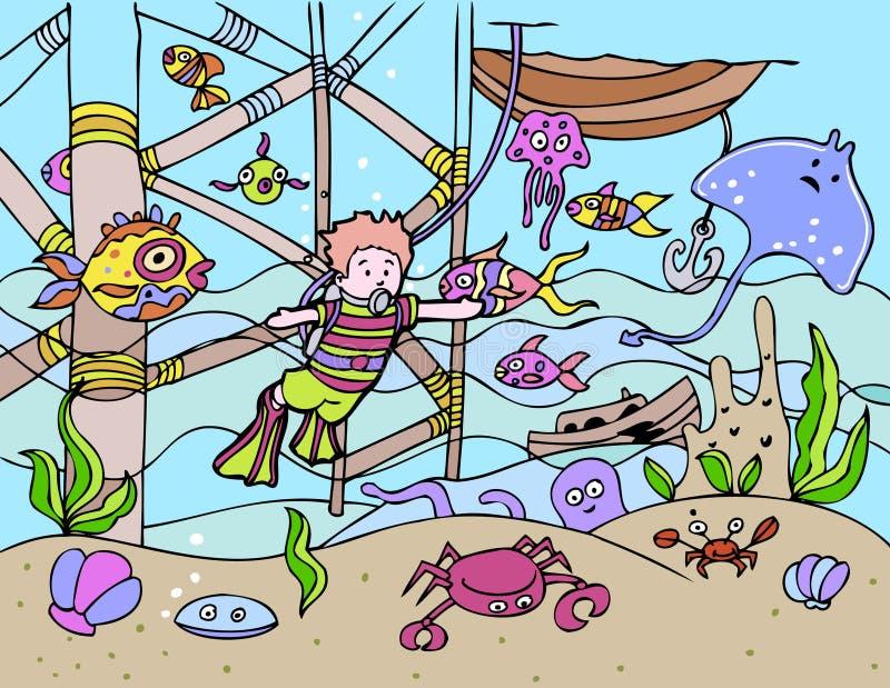 Het kind gaat vrij duiken vector illustratie