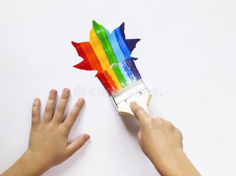 Het kind houdt de borstel Het jonge geitje schildert een esdoornblad in alle kleuren van de regenboog wordt geschilderd die Multi stock afbeeldingen