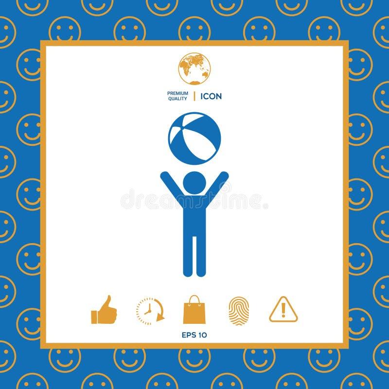 Het kind houdt kinderenstuk speelgoed, bouncybal - pictogram royalty-vrije illustratie