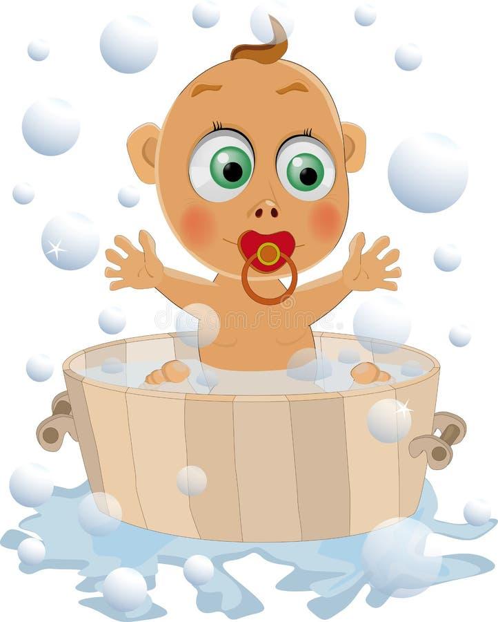 Het kind houdt van te wassen royalty-vrije illustratie